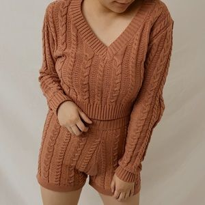 TOP ONLY - Knitted V-Neck